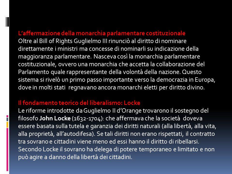 L'affermazione della monarchia parlamentare costituzionale