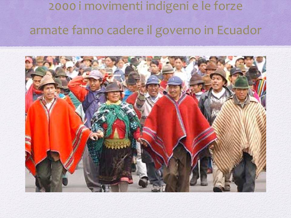2000 i movimenti indigeni e le forze armate fanno cadere il governo in Ecuador