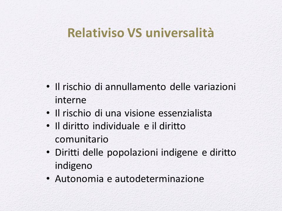 Relativiso VS universalità