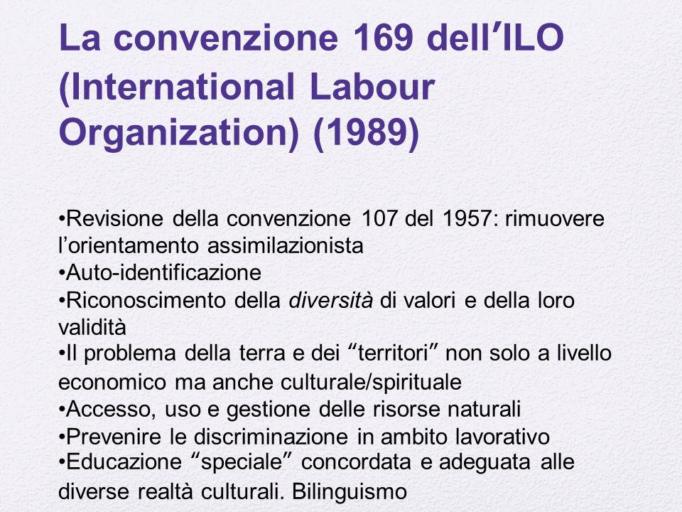 La convenzione 169 dell'ILO (International Labour Organization) (1989)