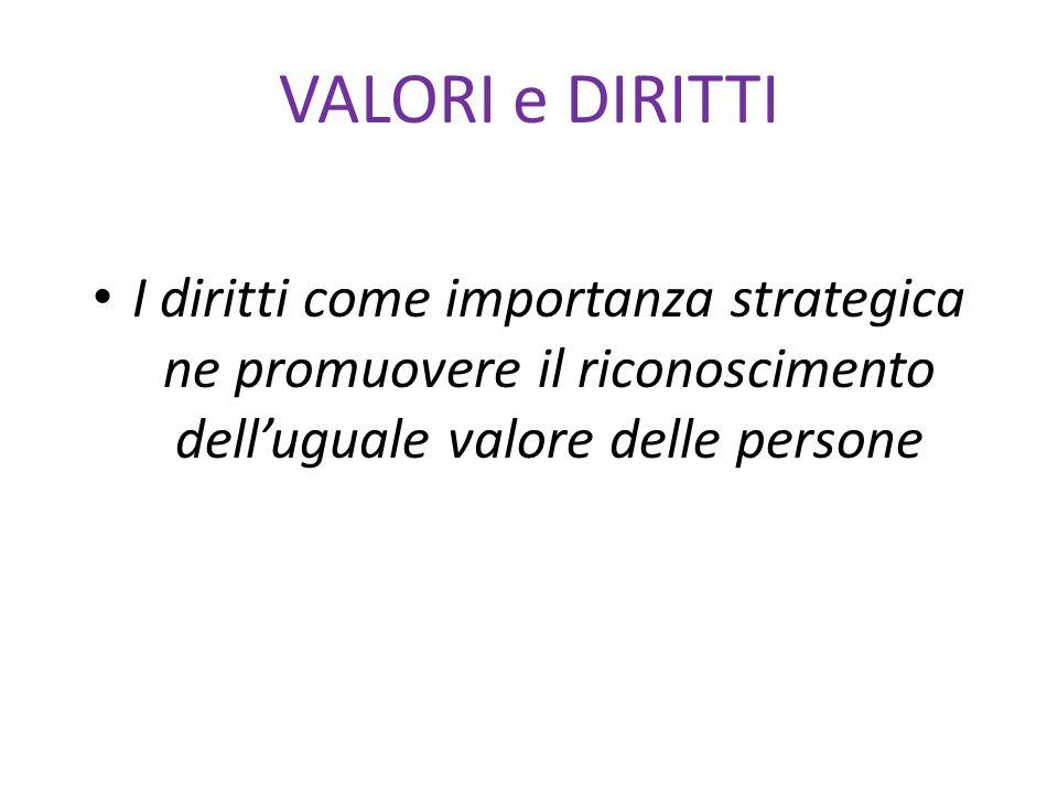 VALORI e DIRITTI I diritti come importanza strategica ne promuovere il riconoscimento dell'uguale valore delle persone.