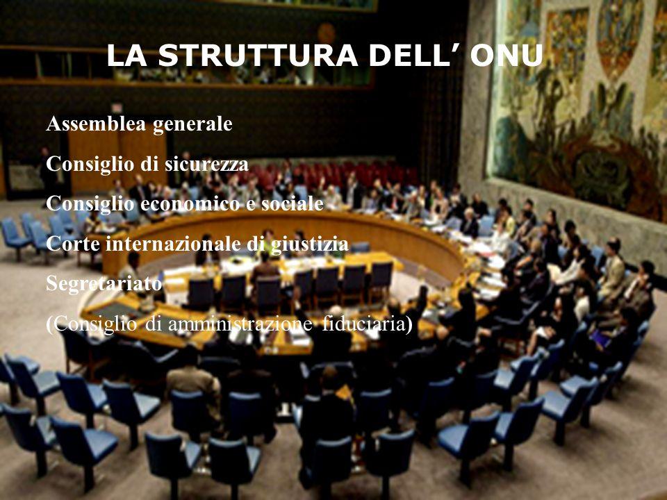 LA STRUTTURA DELL' ONU Assemblea generale Consiglio di sicurezza