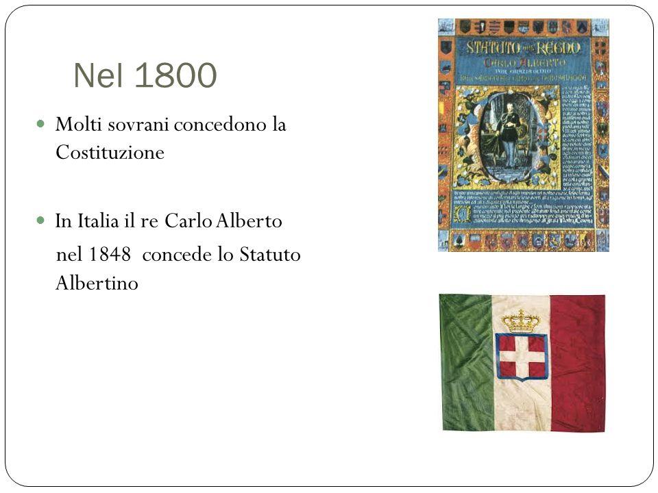 Nel 1800 Molti sovrani concedono la Costituzione