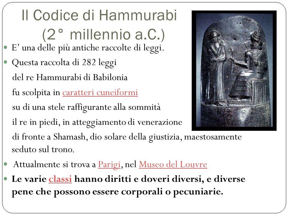 Il Codice di Hammurabi (2° millennio a.C.)