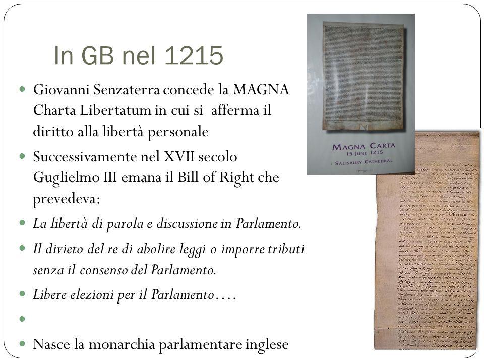 In GB nel 1215 Giovanni Senzaterra concede la MAGNA Charta Libertatum in cui si afferma il diritto alla libertà personale.