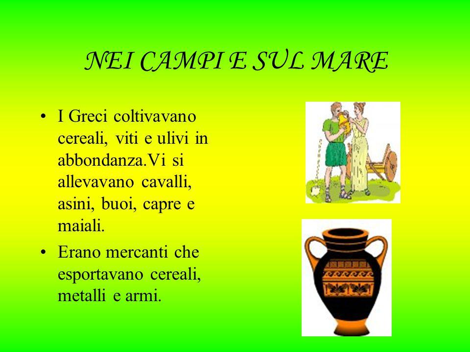 NEI CAMPI E SUL MARE I Greci coltivavano cereali, viti e ulivi in abbondanza.Vi si allevavano cavalli, asini, buoi, capre e maiali.