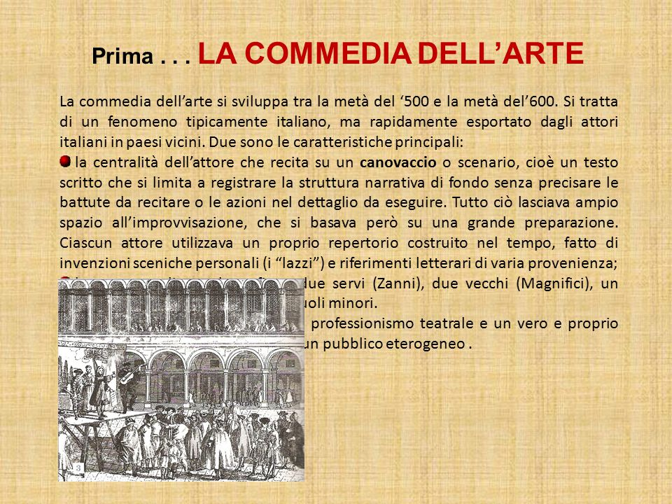 Prima . . . LA COMMEDIA DELL'ARTE