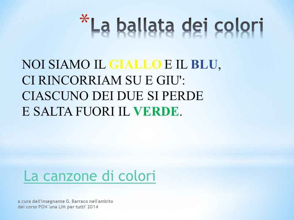 La ballata dei colori La canzone di colori