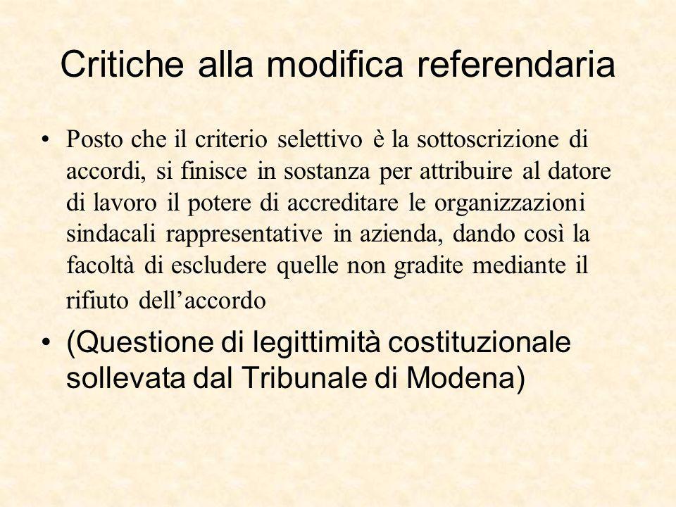 Critiche alla modifica referendaria