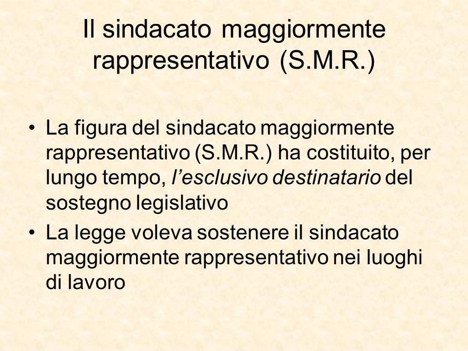Il sindacato maggiormente rappresentativo (S.M.R.)
