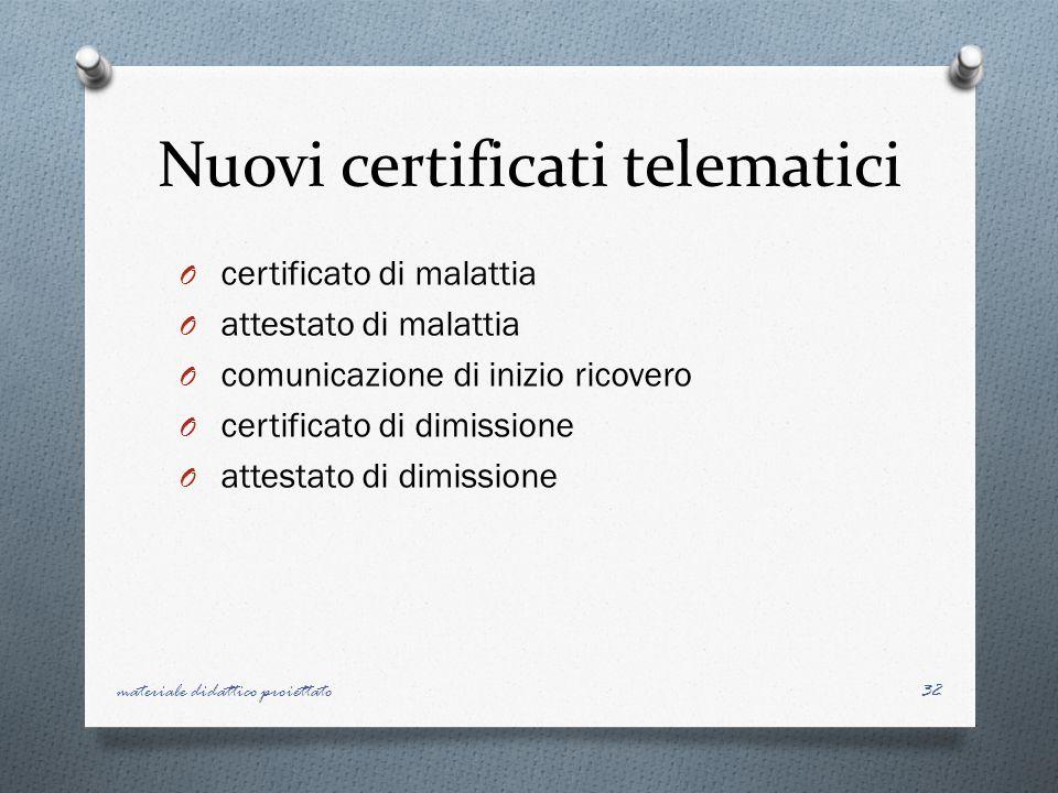 Nuovi certificati telematici