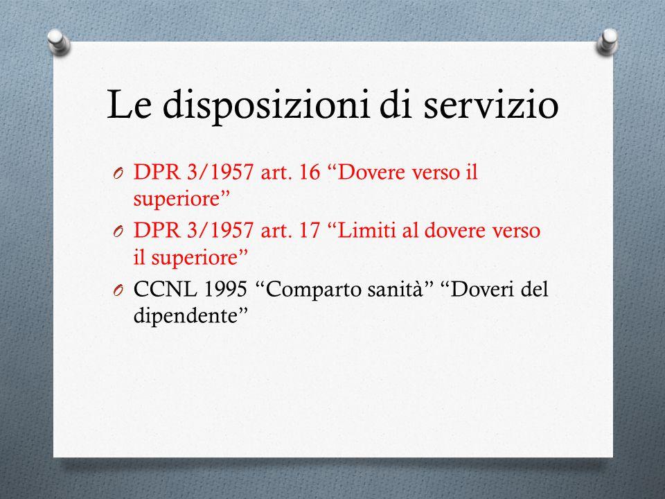 Le disposizioni di servizio