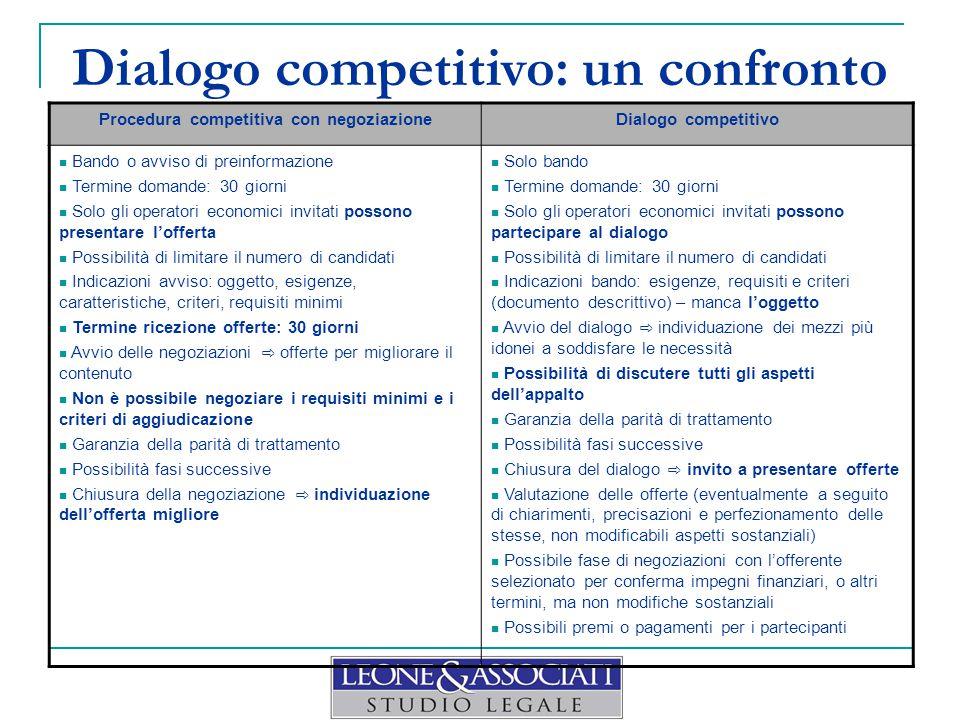 Dialogo competitivo: un confronto