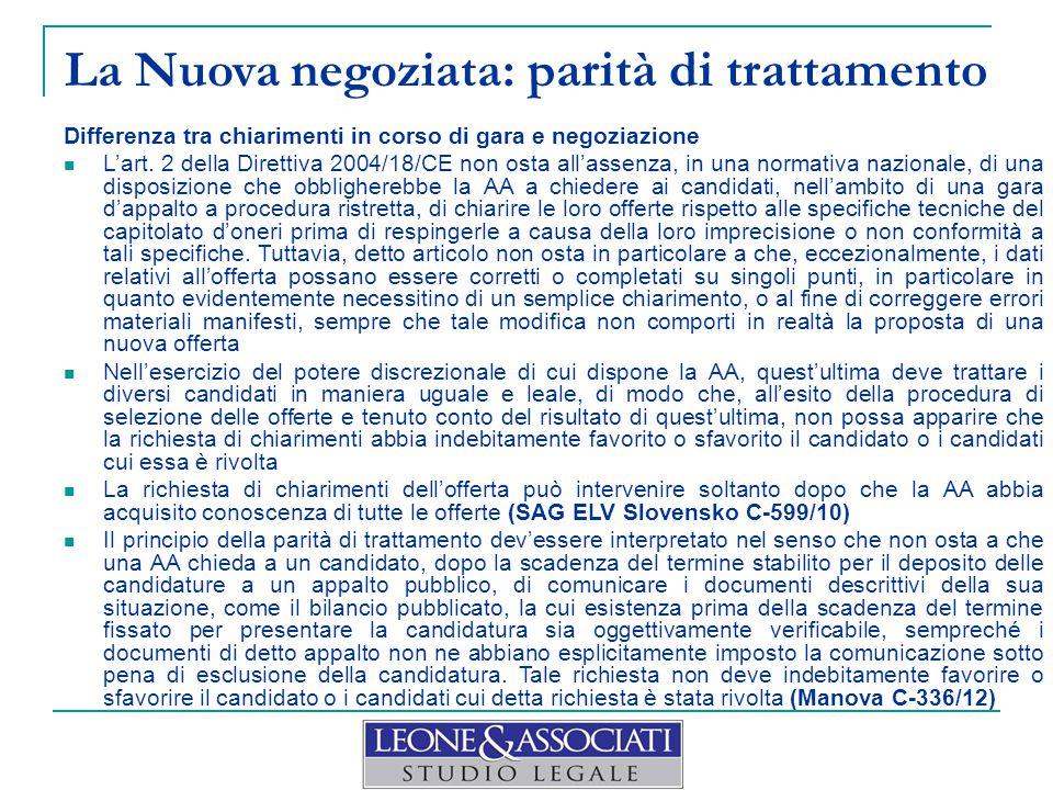 La Nuova negoziata: parità di trattamento