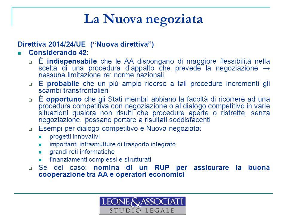 La Nuova negoziata Direttiva 2014/24/UE ( Nuova direttiva )