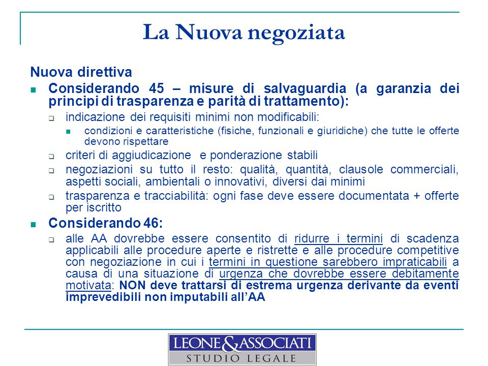 La Nuova negoziata Nuova direttiva