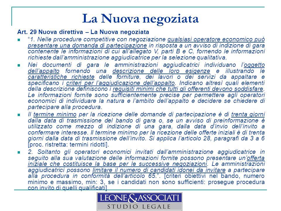 La Nuova negoziata Art. 29 Nuova direttiva – La Nuova negoziata
