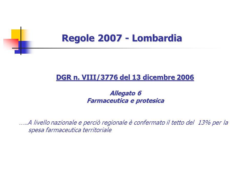 DGR n. VIII/3776 del 13 dicembre 2006 Farmaceutica e protesica