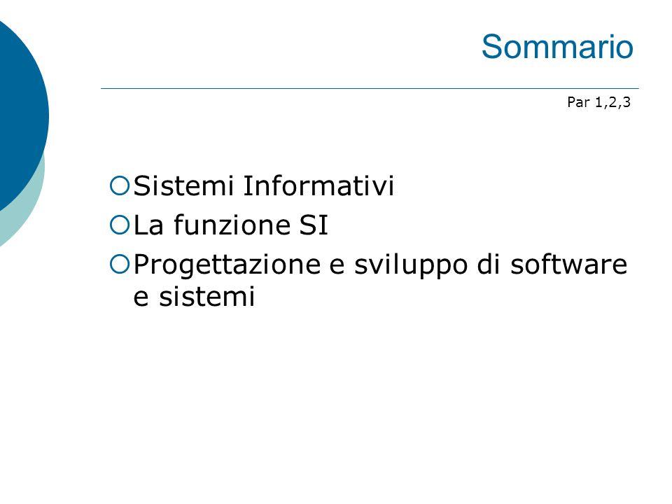 Sommario Sistemi Informativi La funzione SI