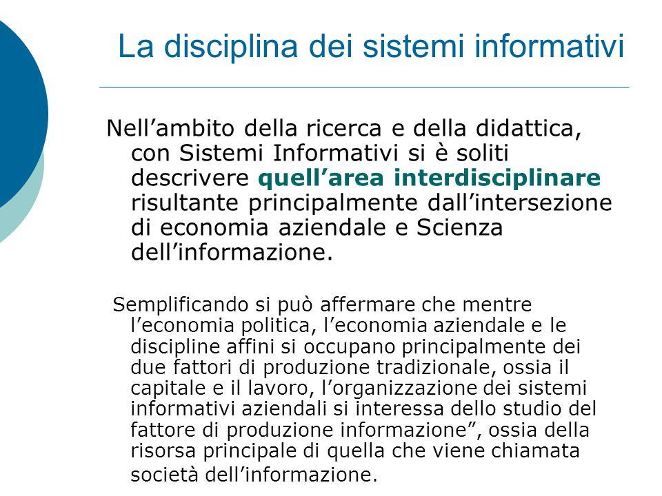 La disciplina dei sistemi informativi