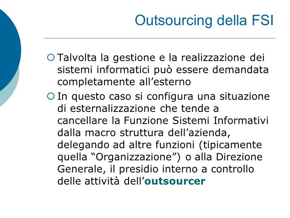 Outsourcing della FSI Talvolta la gestione e la realizzazione dei sistemi informatici può essere demandata completamente all'esterno.