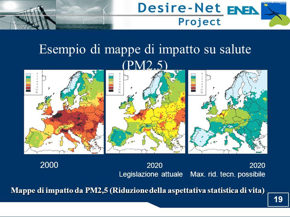 Esempio di mappe di impatto su salute (PM2,5)