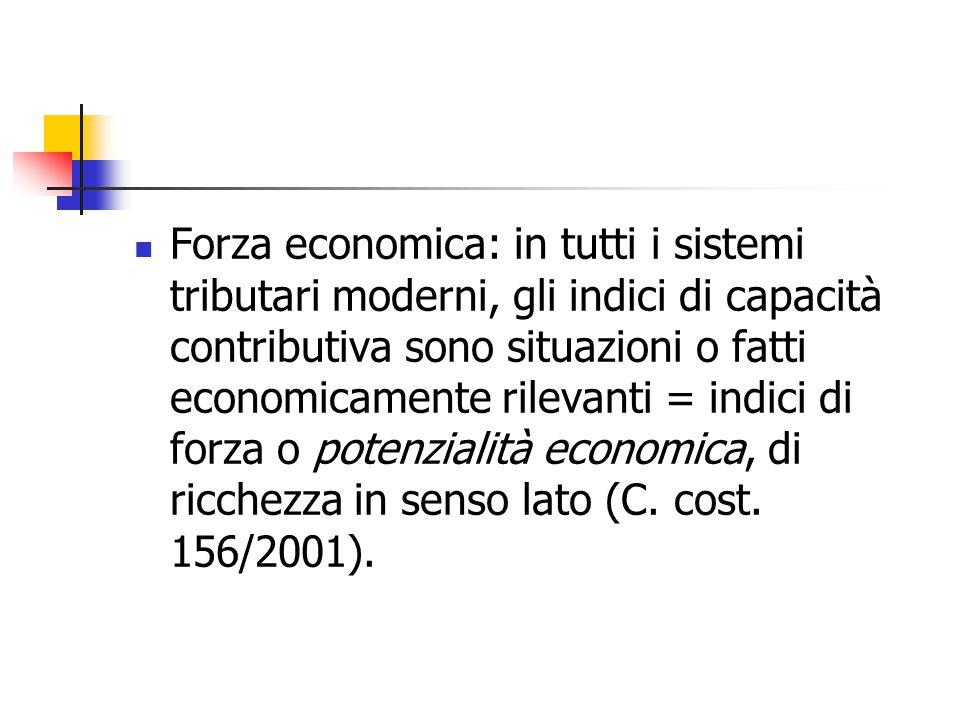 Forza economica: in tutti i sistemi tributari moderni, gli indici di capacità contributiva sono situazioni o fatti economicamente rilevanti = indici di forza o potenzialità economica, di ricchezza in senso lato (C. cost. 156/2001).