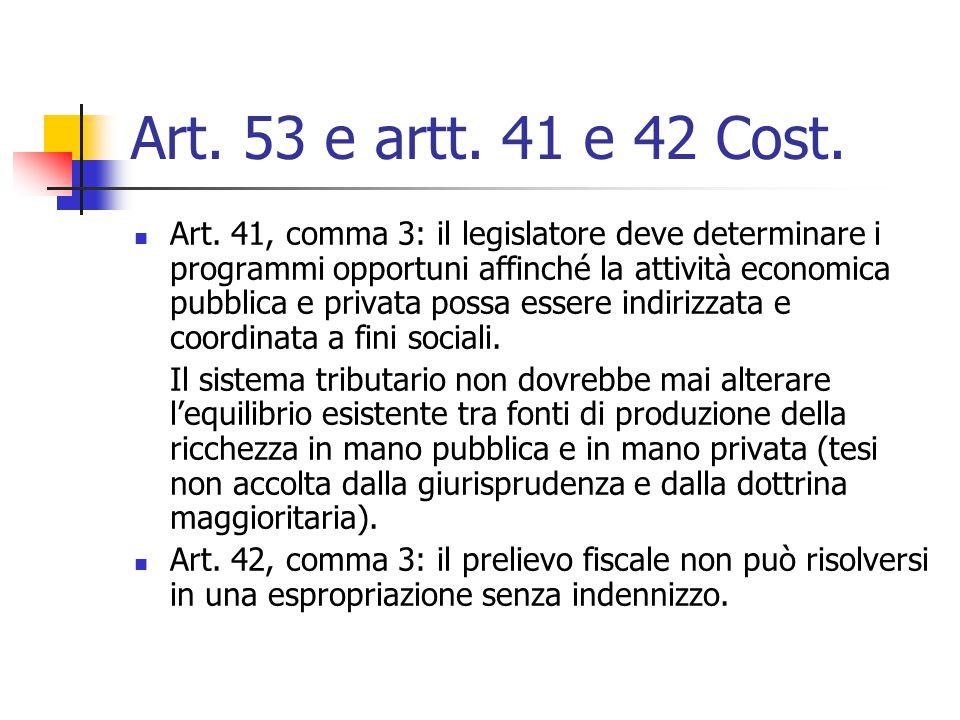 Art. 53 e artt. 41 e 42 Cost.