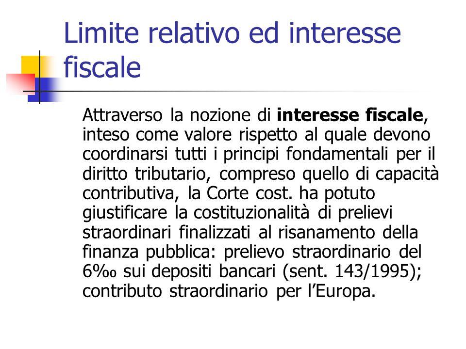 Limite relativo ed interesse fiscale