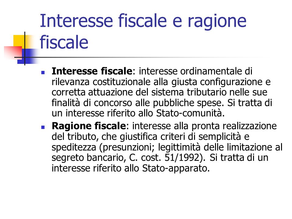 Interesse fiscale e ragione fiscale