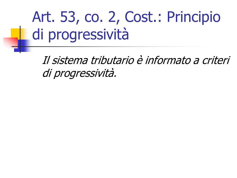 Art. 53, co. 2, Cost.: Principio di progressività
