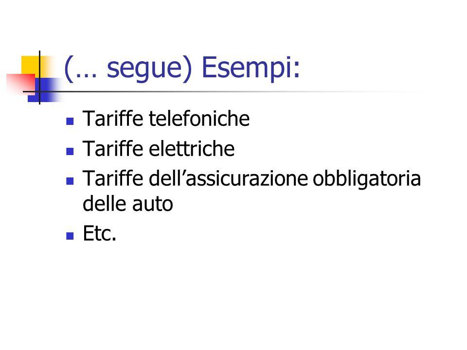 (… segue) Esempi: Tariffe telefoniche Tariffe elettriche