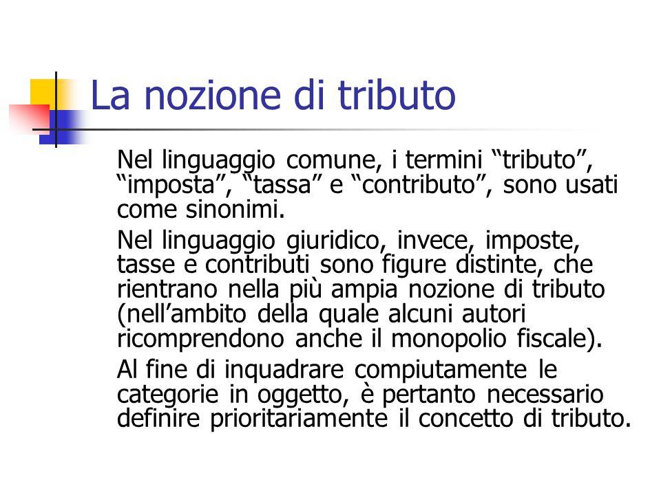 La nozione di tributo Nel linguaggio comune, i termini tributo , imposta , tassa e contributo , sono usati come sinonimi.