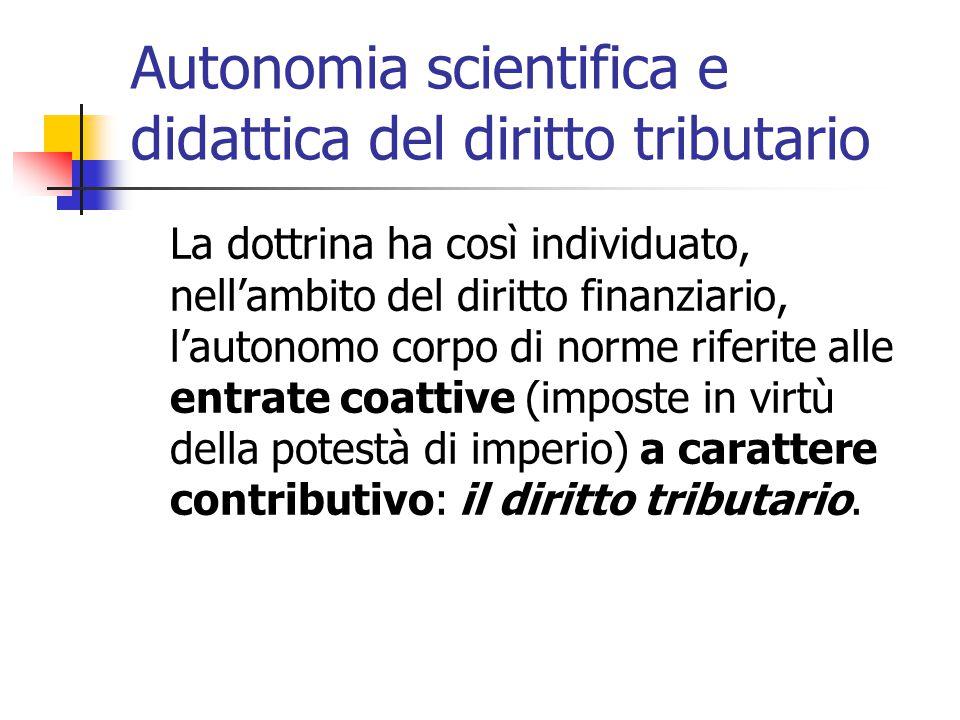 Autonomia scientifica e didattica del diritto tributario