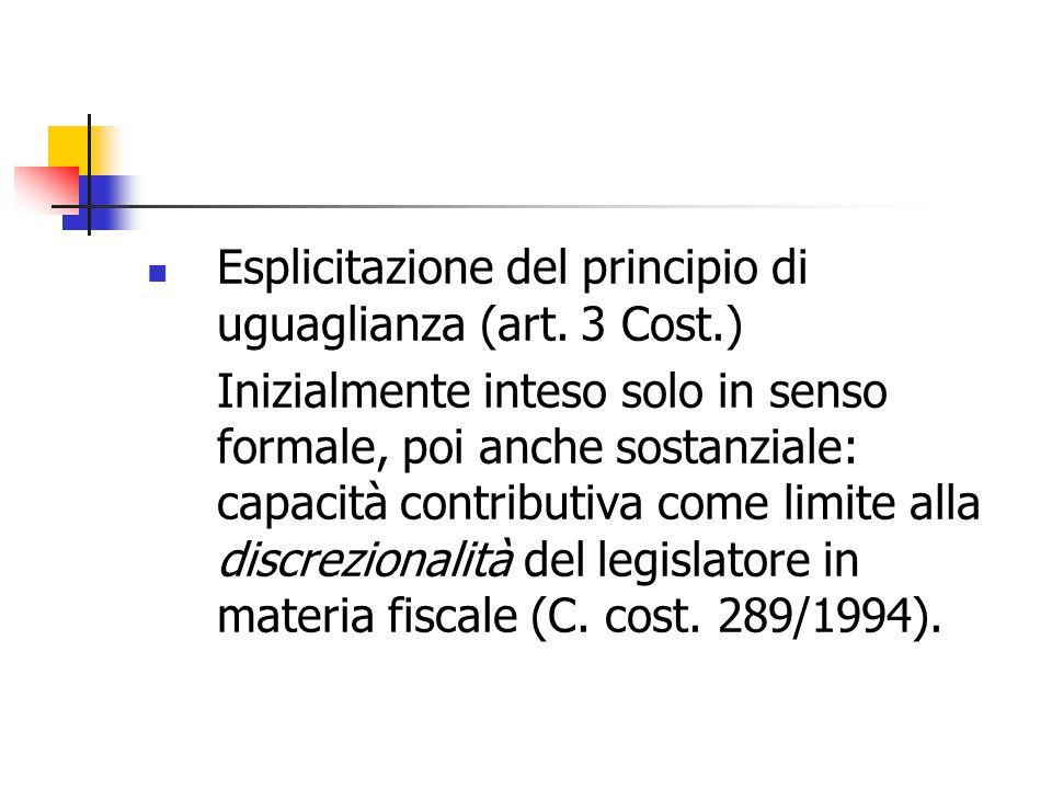Esplicitazione del principio di uguaglianza (art. 3 Cost.)