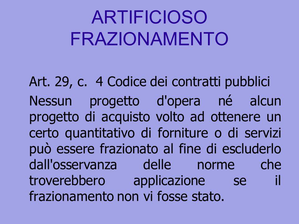 ARTIFICIOSO FRAZIONAMENTO