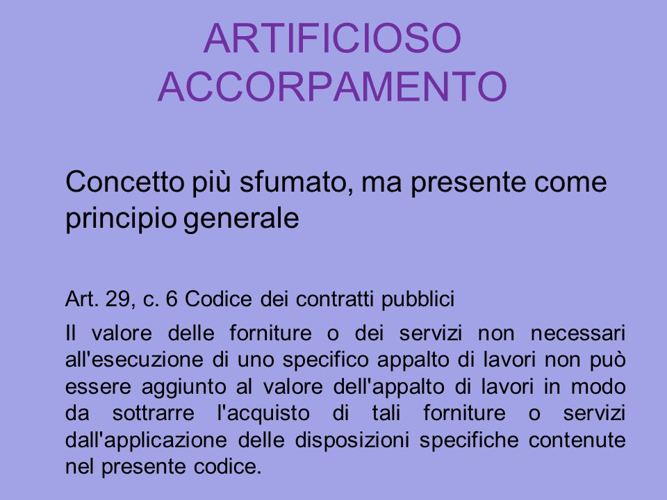 ARTIFICIOSO ACCORPAMENTO