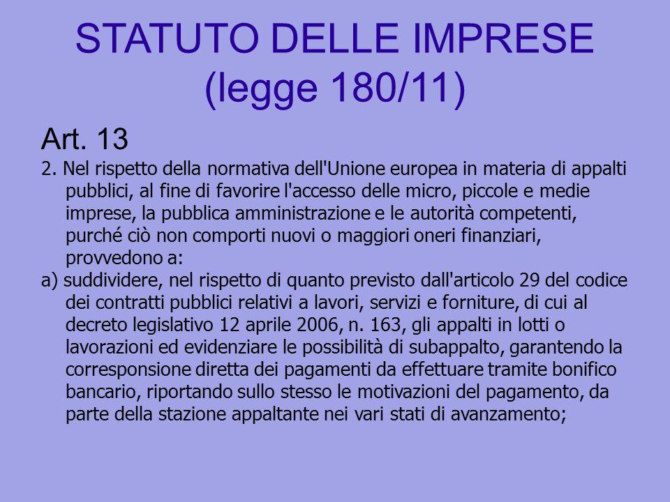STATUTO DELLE IMPRESE (legge 180/11) Art. 13