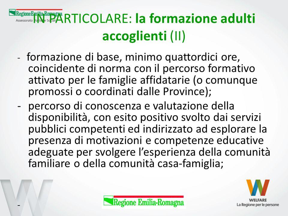 IN PARTICOLARE: la formazione adulti accoglienti (II)