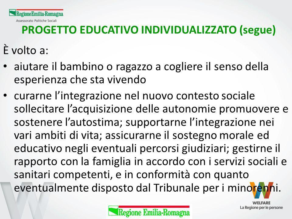 PROGETTO EDUCATIVO INDIVIDUALIZZATO (segue)