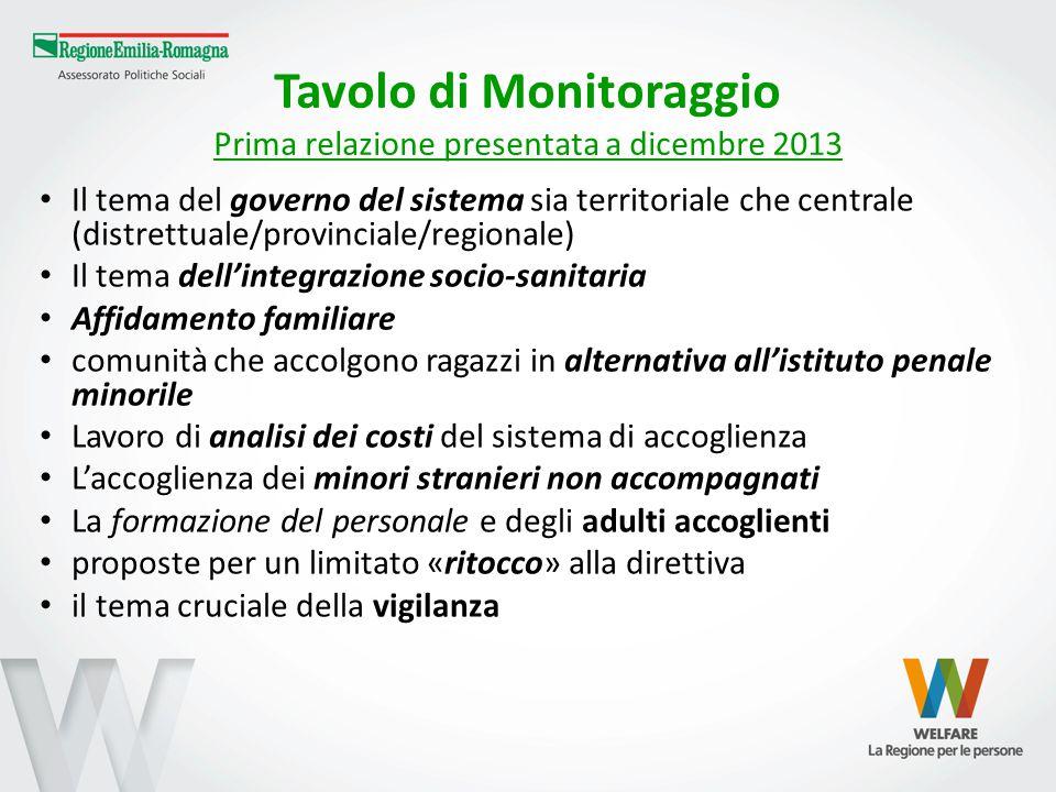 Tavolo di Monitoraggio Prima relazione presentata a dicembre 2013