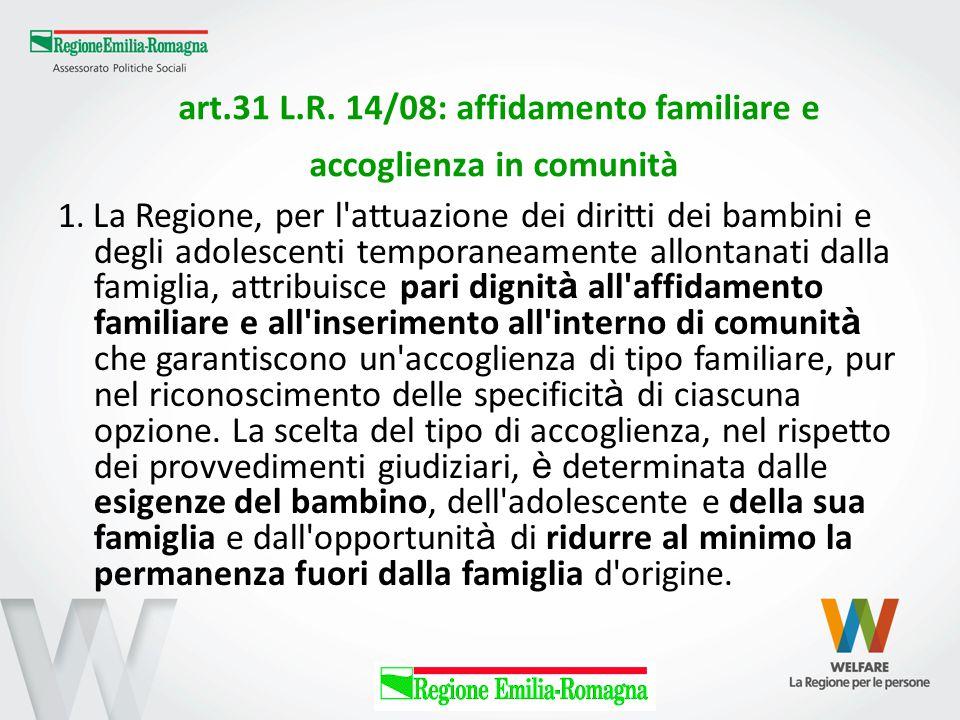 art.31 L.R. 14/08: affidamento familiare e accoglienza in comunità