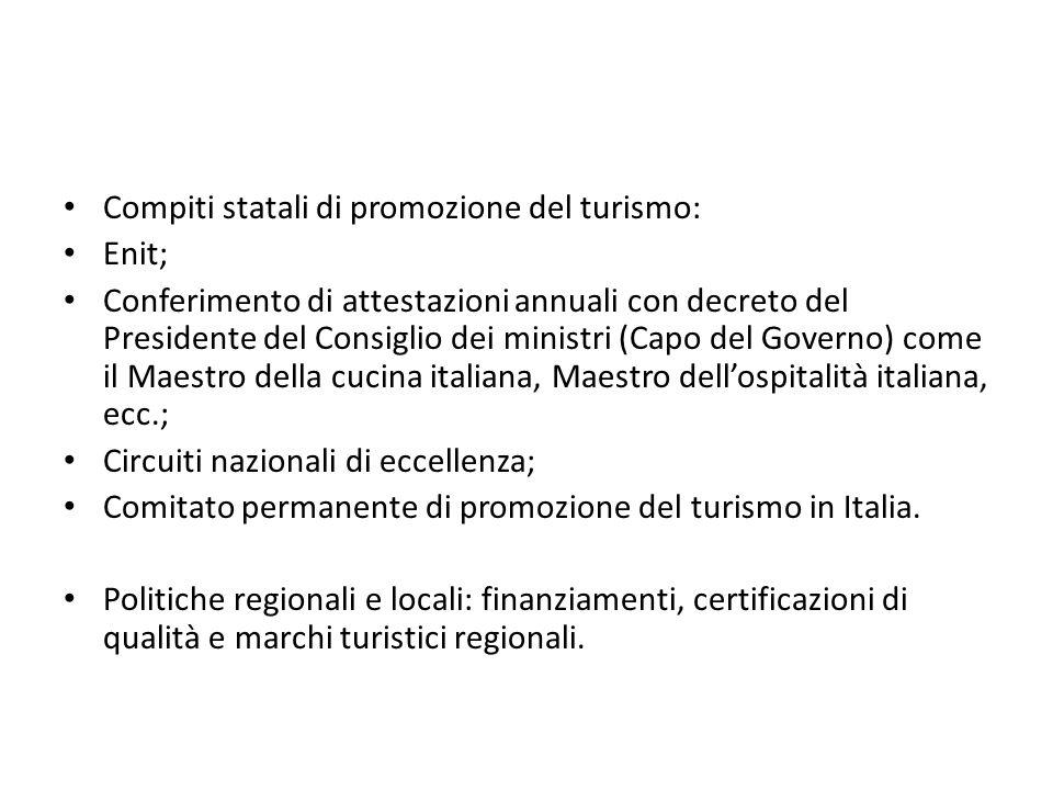 Compiti statali di promozione del turismo: