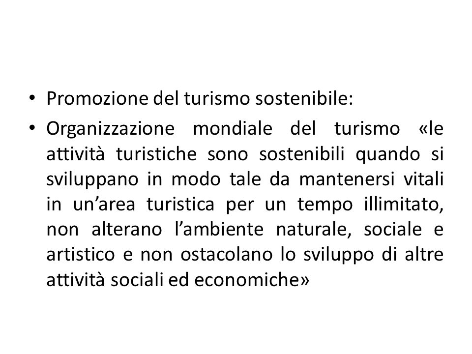Promozione del turismo sostenibile: