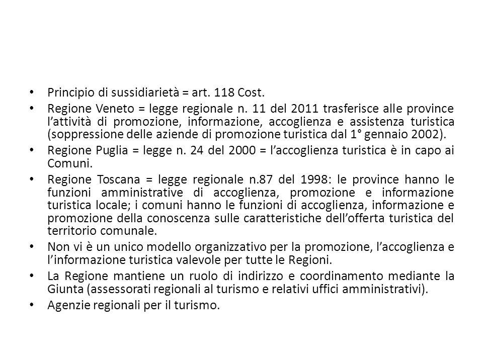 Principio di sussidiarietà = art. 118 Cost.