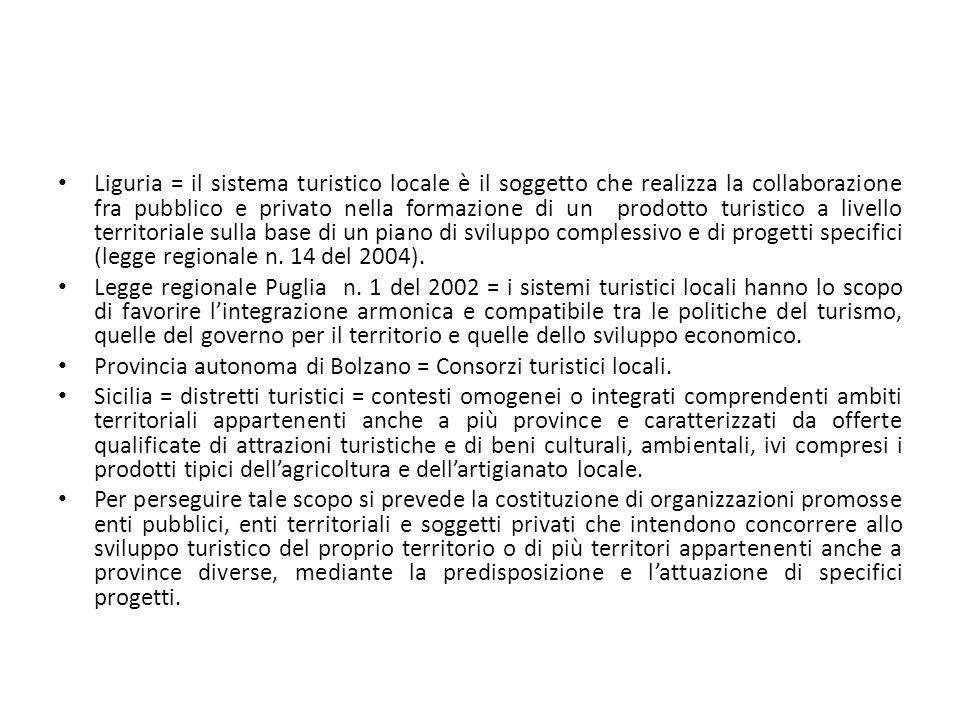 Liguria = il sistema turistico locale è il soggetto che realizza la collaborazione fra pubblico e privato nella formazione di un prodotto turistico a livello territoriale sulla base di un piano di sviluppo complessivo e di progetti specifici (legge regionale n. 14 del 2004).