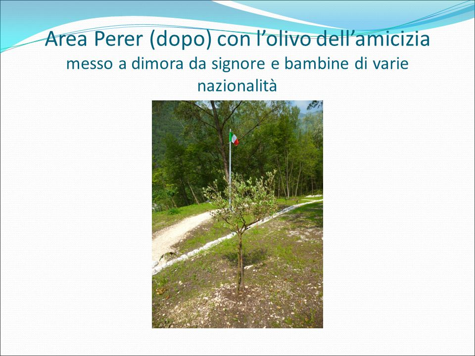 Area Perer (dopo) con l'olivo dell'amicizia messo a dimora da signore e bambine di varie nazionalità