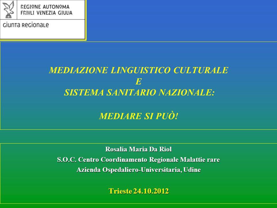 MEDIAZIONE LINGUISTICO CULTURALE E SISTEMA SANITARIO NAZIONALE: MEDIARE SI PUÒ!
