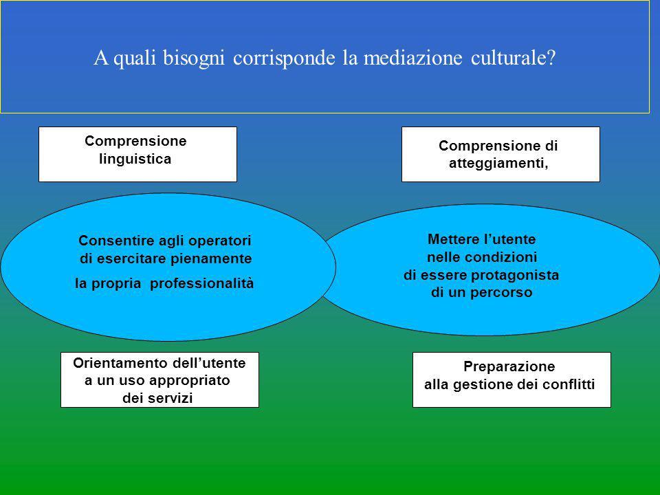 A quali bisogni corrisponde la mediazione culturale