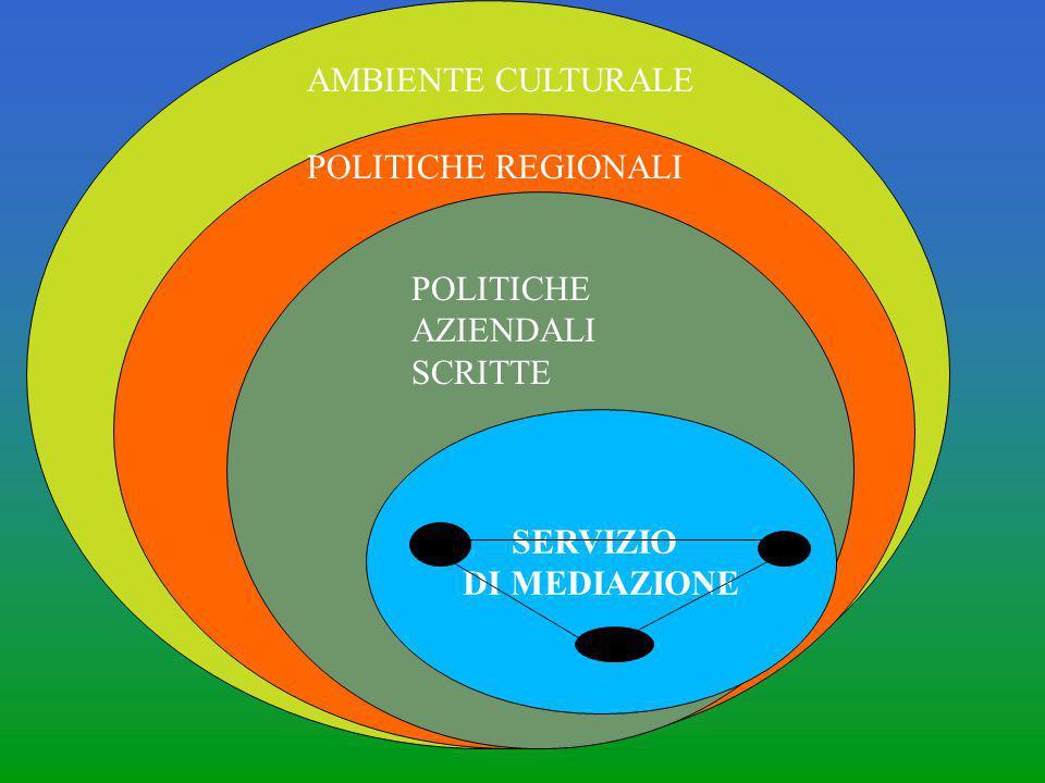 AMBIENTE CULTURALE POLITICHE REGIONALI POLITICHE AZIENDALI SCRITTE SERVIZIO DI MEDIAZIONE